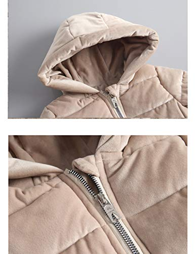 Gold Warm Outerwear Velvet Fabric Jacket Cotton Lightweight Hooded Slim Child Thick fit Down Beige Winter Quilted Coats BESBOMIG Puffer wp6ZAOp