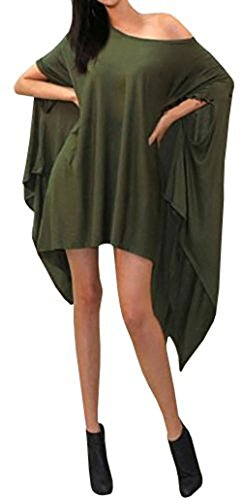 Women's Loose Bat Wing Dolman Poncho Tunic Dress Top Army Green S (Us Army Cape)