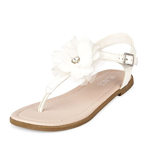 The Children's Place Girls' BG Flower Zahara Flat Sandal, White, Youth 11 Medium US Big Kid