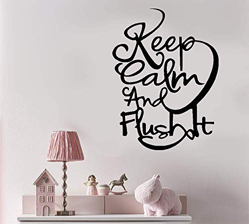 Wall Letters Toile - Vinyl Wall Art Inspirational Quotes and Saying Home Decor Decal Sticker Keep Calm and Flush It for Wc Toile