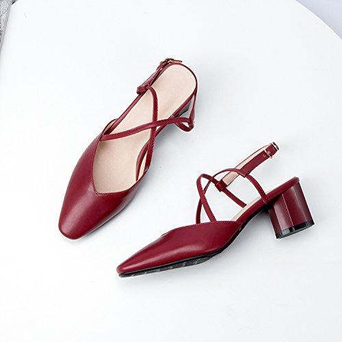 gaolim Baotouサンダルメス夏粗いwith the high-heel靴、万能クロスストラップバックルレディース靴 B07CK2STS4