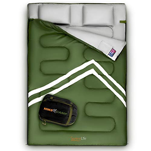 SereneLife Backpacking Sleeping Bag Camping Gear - Double Sleeping Bag for Adults/Teens W/ 2 Pillows, Bag - Outdoor Lightweight Weather Proof Sleeping Bags for Camping, Backpacking, Hiking SLSBX9
