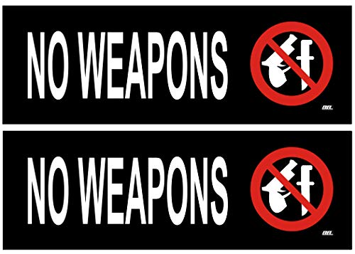 Set Warning Decal - 2 Pack No Weapons Allowed Sticker Set Sign Warning 9x3 Inch Vinyl Decal Indoor Outdoor Window Door Business Retail Store