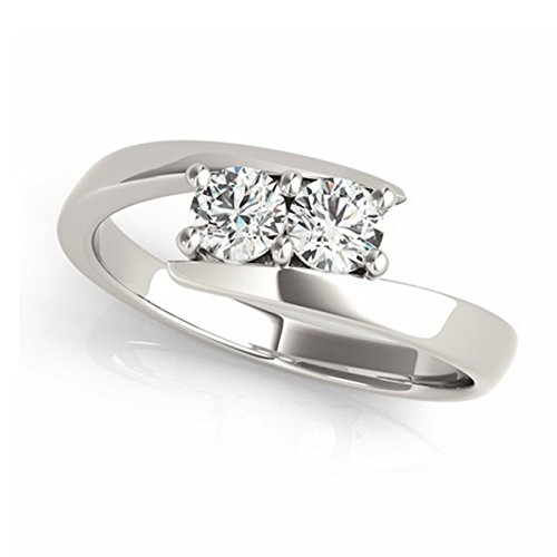 14k Gold Women's Diamond Solitaire Tension Two Stone Ring (1.00ct)