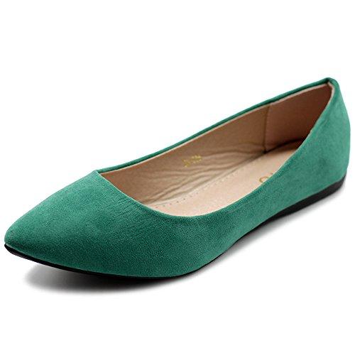 Ollio Women's Ballet Comfort Light Faux Suede Multi Color Shoe Flat ZM1038(7.5 B(M) US, Green) -