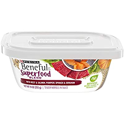 Purina Beneful Wet Dog Food, Superfood Blend With Beef & Salmon - (8) 9 oz. Tubs