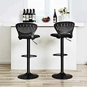SONGMICS Bar Stool Set of 2, Height Adjustable Bar Chairs with Crown-Shaped Back, Comfortable Padded Seat, Footrest, Breathable Mesh Fabric, 360° Swivel, for Kitchen, Bar, Black LJB04BKUK