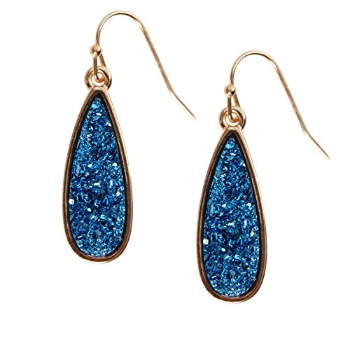 Humble Chic Simulated Druzy Drop Dangles - Gold-Tone Sparkly Long Teardrop Dangly Earrings for Women, Blue, Simulated Sapphire, Simulated Tanzanite, Gold-Tone ()