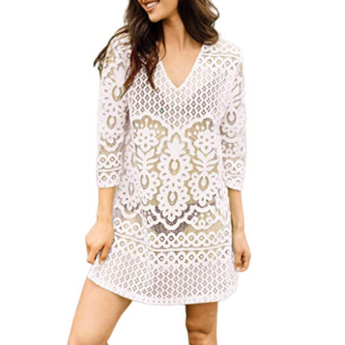 JAGETRADE Womens Vacation Solid Color Hollow Out Beach Mini Dress Sexy Semi Sheer Crochet Floral Lace Deep VNeck Bikini Cover Up 3/4 Sleeves Tunic Top