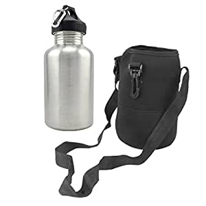 Prettyia 2L Stainless Steel Sports Drink Water Bottle + Storage & Protection Pouch