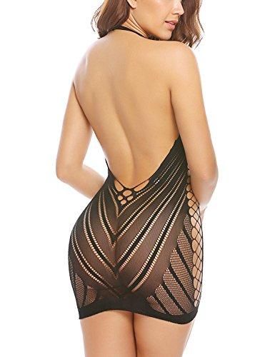 Sweetnight Womens Strapless Chemise Sleepwear Lingerie Nighties Mini Dress Skirts For Women One Size (M, Black)