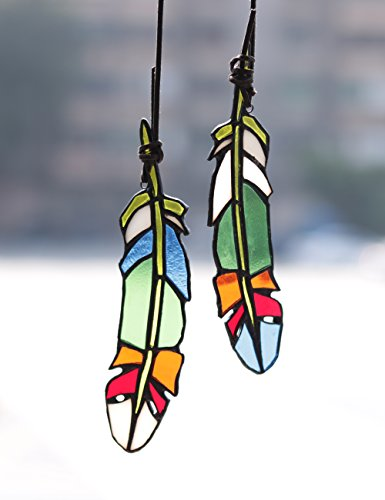 Red Stained Glass Suncatcher - HAOSUM Stained Glass Window Hangings Set of 2 Stained Glass Feather Colored Glass Suncatchers Hanging Ornament for Wall, Window,Car and Party Decoration and Gift Idea