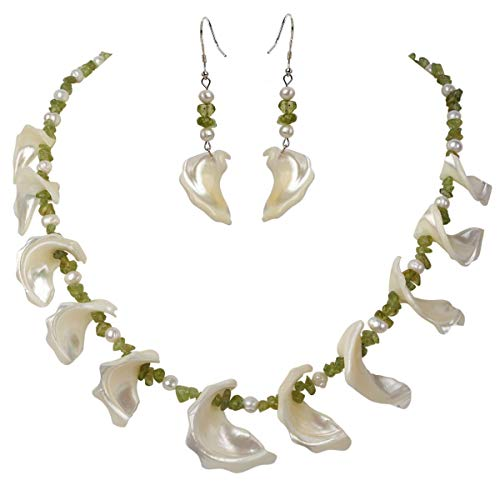 YACQ Freshwater Pearl Mother of Pearl Natural Peridot 925 Sterling Silver Necklace Dangle Earrings Handmade Jewelry Sets for Women Teen Girls 20