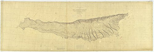 16 x 20 Glossy Nautical Map Printed on Metal San Clemente Island, CA 1878 NOAA - Ca Clemente San