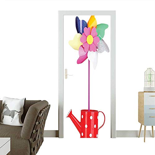 Spiral Pinwheel in Watering Can Vibrant Colors Rainbow Flowers Pink Red Removable Door Decal for Home DecorW23.6 x H78.7 INCH ()