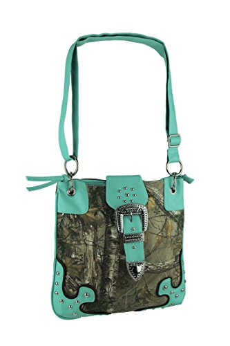 Realtree Camo Mint Buckle Trim Studded Crossbody Purse