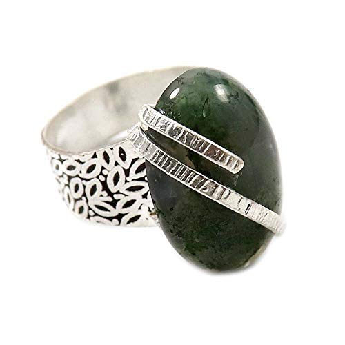 GoyalCrafts Natural Moss Agate Oval Gemstone Ring US-6 Silver Overlay Fashion Jewelry GRG-01