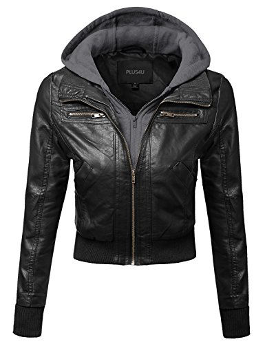 Plus4u Faux Leather Bomber Military Style Hooded Jacket Plus Size Black Gray Size 1XL - Track Style Leather