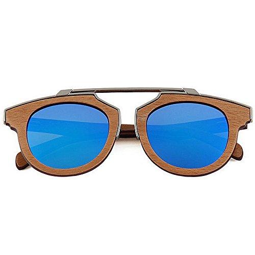 en décoration de soleil Gentleman de métal de de de polarisées conduite bois Protection UV soleil à qualité lunettes lunettes haute soleil Lunettes la en main plage lunettes de Bleu de de soleil de de H7SxTqpw