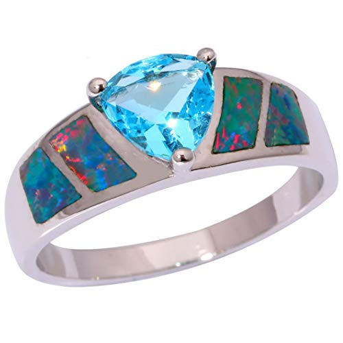 MARRLY.H Created Rainbow Fire Opal Blue Zirconia Silver Plated Retail for Women Jewelry Ring Rainbow 10