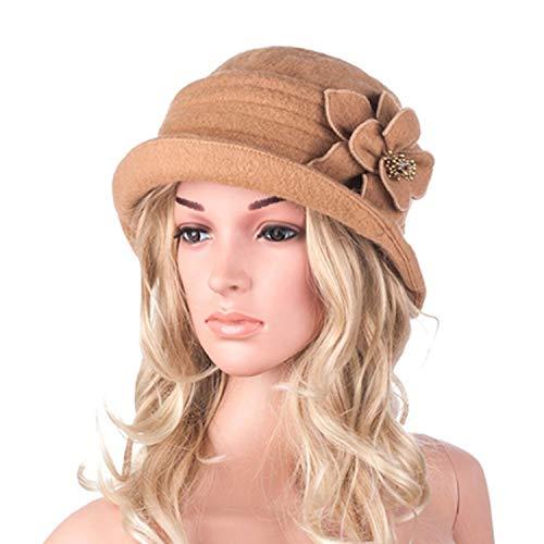 Winter Hat for Women Gatsby Style Flower Warm Wool Beret Winter Cap Ladies Beanies Church Hats Cloche Bonnet (Eye Hydra Floral)