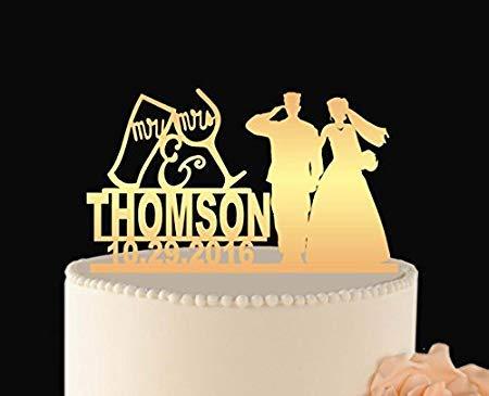 Married Couple Wedding Cake Topper, Army Wedding Cake, Mr and Mrs for Wedding Cake, Personalized Wedding Cake ()