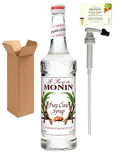 - Monin Pure Cane Syrup, 25.4-Ounce (750 ml) Glass Bottle with Monin BPA Free Pump. Boxed.