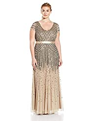 Beaded Gown With Sleeve & V-Neck