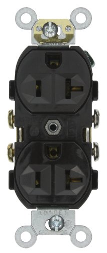 Leviton CR20-E 20-Amp, 125-Volt, Narrow Body Duplex Receptacle, Straight Blade, Commercial Grade, Self Grounding, (Heavy Duty Duplex Outlet)