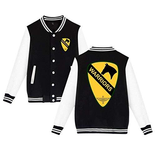Dominily Mens&Womens Adult Baseball JacketBoats US Army 1st Cavalry Division Uniform Coat Sweatshirt Unisex Sport Outwear Plus Velvet Black XXX-Large