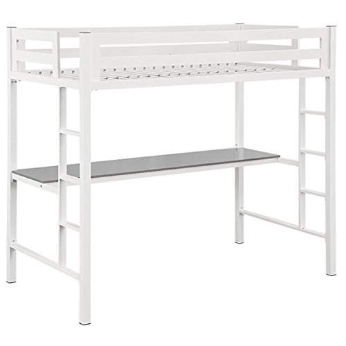 WE Furniture Premium Twin Metal Loft Bed with Workstation, White