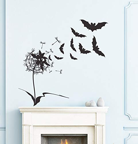 wanghan Designed Flying Bats with Flower Wall Decals for Halloween Home Special Decor Happy Halloween Wall Sticker Poster 80X80 ()