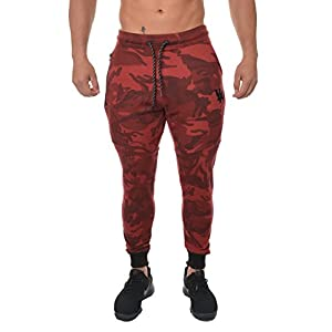 YoungLA Men's Cotton Camouflage Joggers Sweatpants For Gym Athletic Training Pants Workout - Camo Red - XX-Large