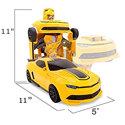 SuperPower Remote Control Car Transforming Bumblebee Classic Disguise Action Figure Hero Robot Toy with One Button Transformation: Toys & Games