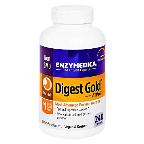 Enzymedica - Digest Gold with ATPro, Daily Digestive Support Supplement with Enzymes and ATP, 240 Capsules (FFP)