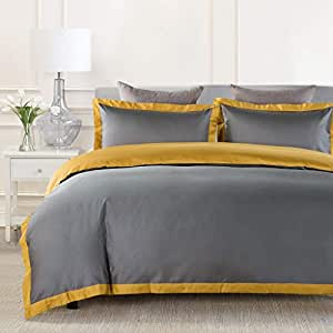 JOHNPEY Duvet Cover Queen King Size,1000TC Egyptian Cotton 3pc Hotel Bedding Set - Silky Soft Comforter Cover,Sateen Weave,Button Closure,Room Decor for Men Women Queen