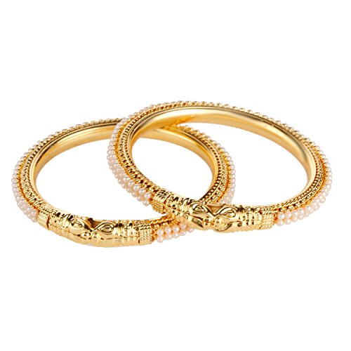 Efulgenz Fashion Jewelry Indian Bollywood 14 K Gold Plated Faux Pearl Bracelets Bangle Set (2 Pieces) For Women