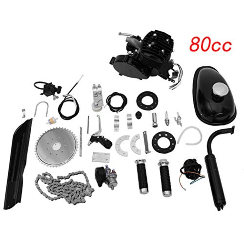 80CC Bicycle Engine Kit, Motorized Bike 2-Stroke, Petrol Gas Engine Kit, Super Fuel-efficient for 26