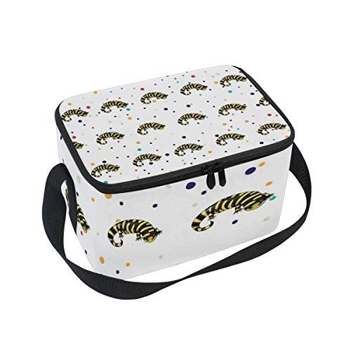 (Lunch Bag Tiger Salamander, Large Insulated Bento Cooler Box with Black Shoulder Strap for Men Women Kids, BaLin 10