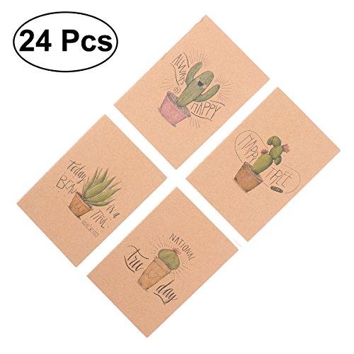 NUOLUX Brown Paper Notebook Cute Journals Travelers Kraft Paper Notebook Bulk 64K, 24Pcs (Cactus Series)
