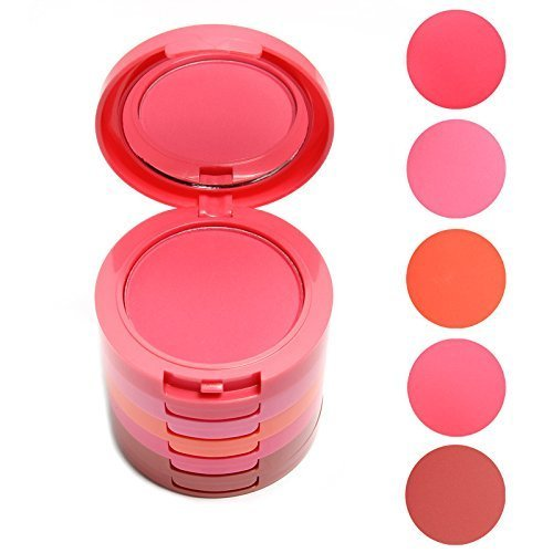 Vodisa Waterproof 5 Color Blusher Palette with Makeup Blush-Face Makeup Cheek Color Blusher-Professional Beauty Cosmetics Make Up Blushing Kit-Face Pressed Powder Baked Mineral Cream Blush Set (Kit Blush)