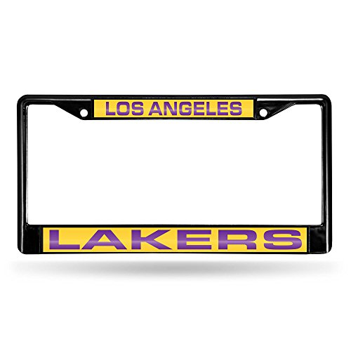 Rico Industries NBA Los Angeles Lakers Laser Cut Inlaid Standard Chrome License Plate Frame, 6