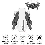 KOBWA Mini Folding Four-Axis Drone with HD Camera, Smartphone APP Control Built-in LED Aircraft UAV, Easy Use for Both Adults and Children