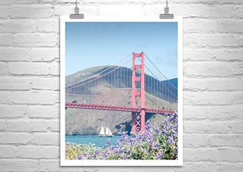 San Francisco Presidio, Golden Gate Bridge, Marin County, Sailboat Art Print