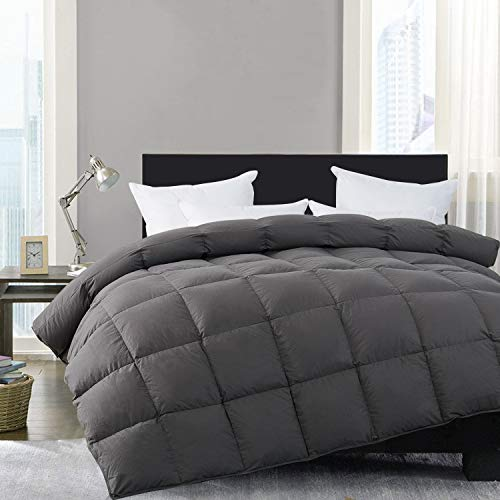 HOMBYS Super King Down Comforter Goose Feather Oversize King Duvet Insert 116 x 108 Hypoallergenic 100% Cotton Cover Down Proof with Corner Tabs(Gray Super King-116