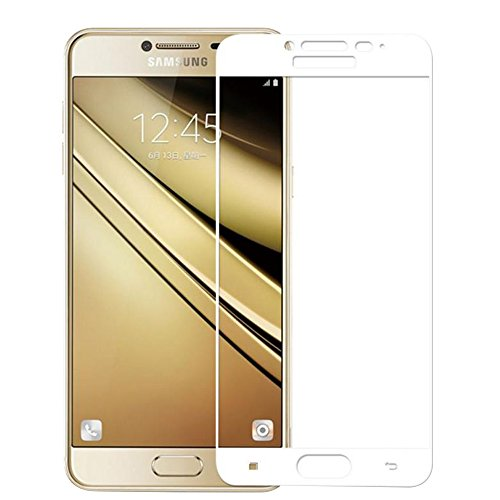 Price comparison product image Galaxy C5 Screen Protector, fengus Premium Tempered Glass Screen Protector Film for Samsung Galaxy C5 C5000 with 9H Hardness and Easy Bubble-Free Installation, White