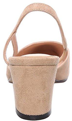 Calaier Womens Casomeone Closed-Toe 6.5CM Block Heel Slip-on Sandals Shoes Beige