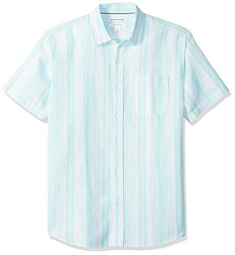Amazon Essentials Men's Regular-Fit Short-Sleeve Pattern Linen Blend Shirt, Aqua Stripe, X-Large ()