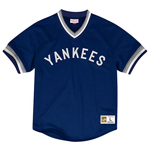 - Mitchell & Ness New York Yankees Men's Dinger Mesh V-Neck Jersey Navy (Large)