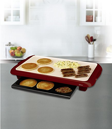 Oster Titanium Infused DuraCeramic Griddle with Warming Tray, Candy Apple Red (CKSTGRFM18MR-TECO)